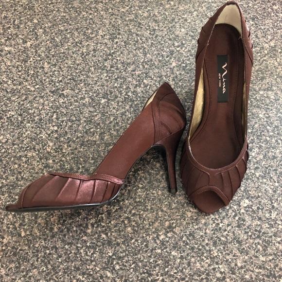 Shoes - Brown Peep Toe Satin Heels